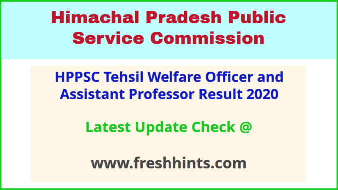 HP Tehsil Welfare Officer Assistant Professor Shortlist Selection List 2020