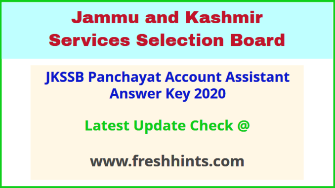 Jammu and Kashmir SSB PAA Answer Sheet 2020