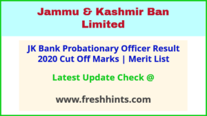 J&K Bank Probationary Officer Selection List 2020