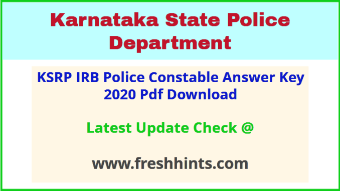 KSP SRPC and IRB PC Key Answer Sheet 2020