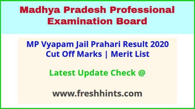 MP Police Jail Prahari Exam Results Selection List 2020