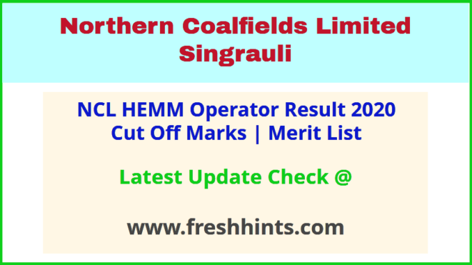 NCL CIL Singrauli Operator Selection List 2020