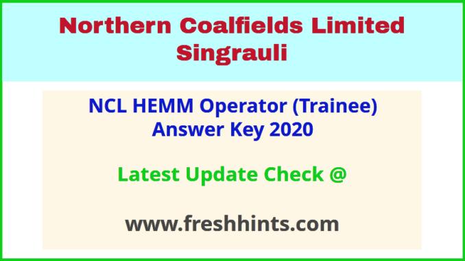 NCL CIL Singrauli Operator Trainee Answer Sheet 2020