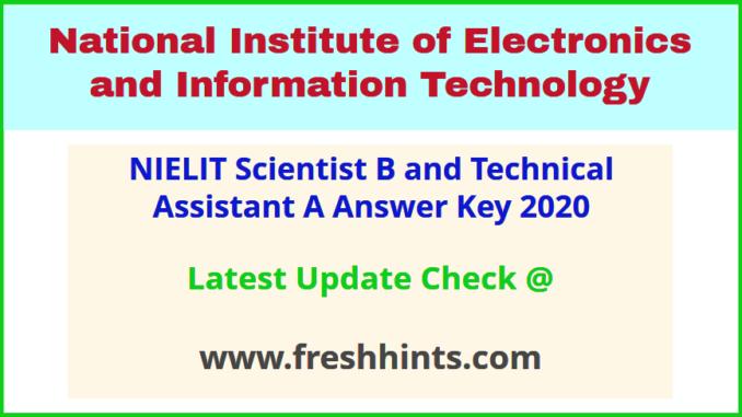 NIC Scientist B SA TA - A Answer Sheet 2020