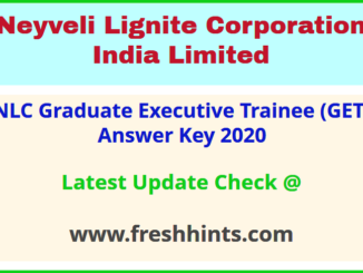 NLCIL Graduate Executive Trainee Answer Sheet 2020