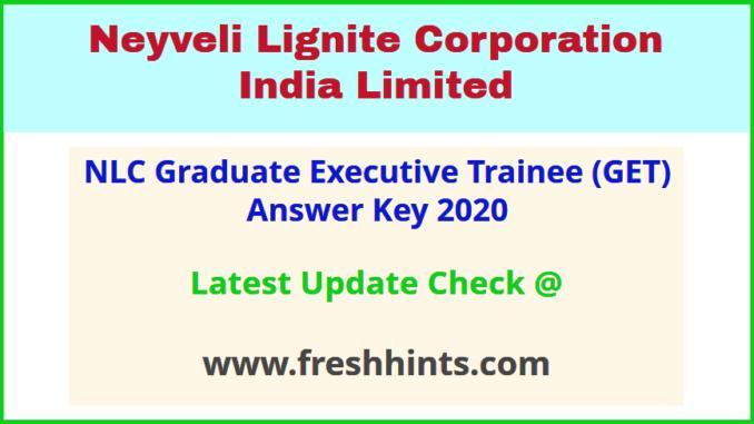 NLCIL Graduate Executive Trainee Answer Sheet 2020