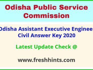 Odisha Assistant Executive Engineer Answer Sheet 2020