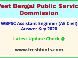 PSCWB Assistant Engineer Civil Answer Sheet 2020