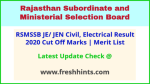 Rajasthan Junior Engineer Results Selection List 2021