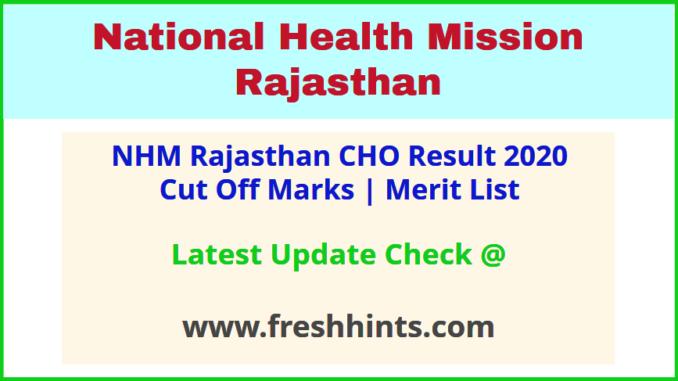 Rajasthan Swasthya Vibhag CHO Selection List 2020