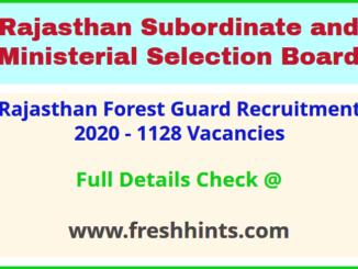 RSMSSB Rajasthan Van Vibhag Vanrakshak Vanpal Bharti 2020