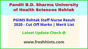 UHSR Staff Nurse Results Selection List 2021