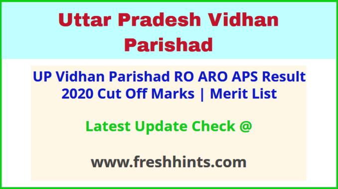 UP Vidhan Parishad Samiksha Adhikari Results Selection List 2020