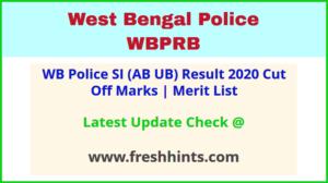 WBP Sub Inspector Final Selection List 2020