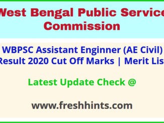 West Bengal PSC Assistant Engineer Civil Selection List 2020