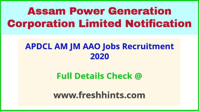 APDCL AM JM AAO Jobs Recruitment 2020