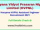 Haryana HVPNL Assistant Engineer Recruitment 2021