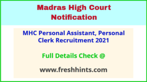 MHC Personal Assistant, Personal Clerk Recruitment 2021