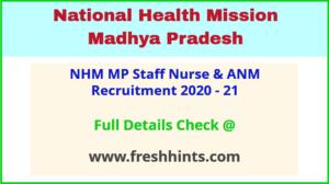 NHM MP Staff Nurse & ANM Recruitment 2020 - 21