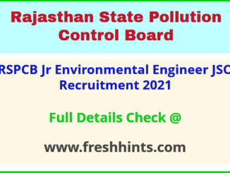 RSPCB Jr Environmental Engineer JSO Recruitment 2021