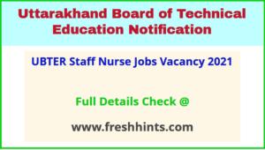 UBTER Staff Nurse Jobs Vacancy 2021