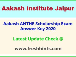 Aakash Scholarship Test Answer Answer Sheet 2020