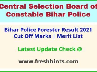 CSBC Bihar Vanpal Selection List 2021