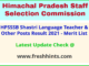 HPSSC LT Junior Office Assistant Results Selection List 2021