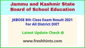 Jammu & Kashmir District DIET Class VIII Results 2021