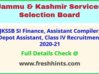 JK Depot Assistant Class IV Bharti 2021 Latest Update