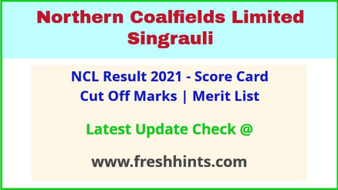 Northern Coalfields Limited Singrauli Selection List 2021