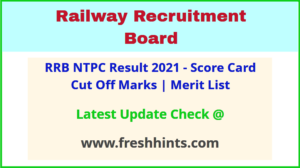 Railway Recruitment Board NTPC Selection List 2021