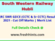 South Western Railway Hubli GDCE Selection List 2021