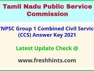 Tamil Nadu Combined Civil Service Exam Answer Sheet 2021