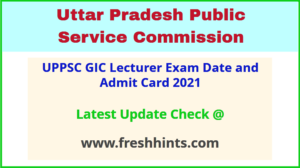 UP Govt Inter College Lecturer Hall Ticket 2021