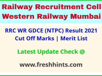 Western Railway GDCE Selection List 2021