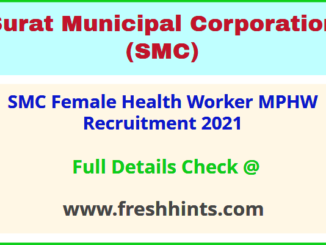 SMC Female Health Worker MPHW Recruitment 2021