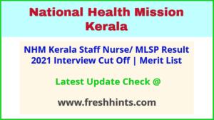 Arogyakeralam NHM Staff Nurse Results Selection List 2021