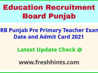 Education Recruitment Board Pre Primary Teacher Hall Ticket 2021