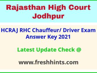 HCRAJ Driver Question Paper Solution Key 2021