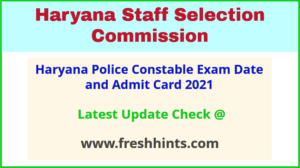 HSSC Police Constable GD Exam Hall Ticket 2021
