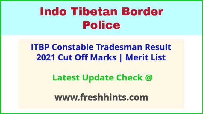 Indo Tibetan Border Police Tradesman Selection List 2021