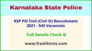 Karnataka Police Sub Inspector Vacancy 2021 Full Details
