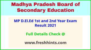 MPBSE DELED Results 2020 Check at MP Online