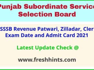 Punjab Revenue Patwari Exam Admit Card 2021