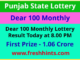 Punjab State Lotteries Dear 100 Monthly Winner List 2021