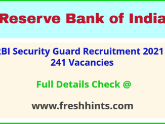 Reserve Bank of India Security Guard Vacancy 2021 Full Details