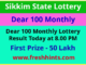 Sikkim Lotteries Dear 100 Monthly Winner List 2021