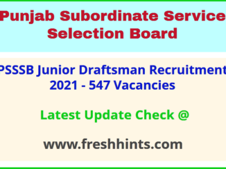SSSB Punjab Junior Draftsman Vacancy 2021 Full Details Pdf