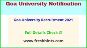 Goa University Recruitment 2021